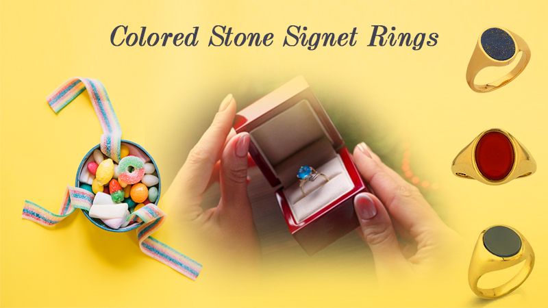 5 Different Colored Stone Signet Rings